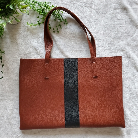 Vince Camuto Handbags - Vince Camuto Brown Vegan Leather Striped Tote
